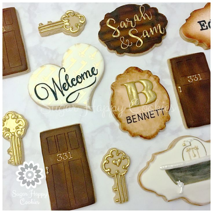 welcome home gift, house warming gift, realtor gift, sugar cookies, clawfoot tub, skeleton key, personalized sugar cookies, royal icing