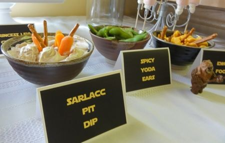 Sarlacc Pit dip (recipe, here), Spicy Yoda Ears (recipe, here) & Ewok food (recipe, here)  Fun snacks that take NO prep time – are the best.