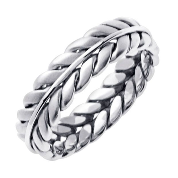 Trendy K White Gold Hand Braided Wedding Ring Band for Men or Women Sizes
