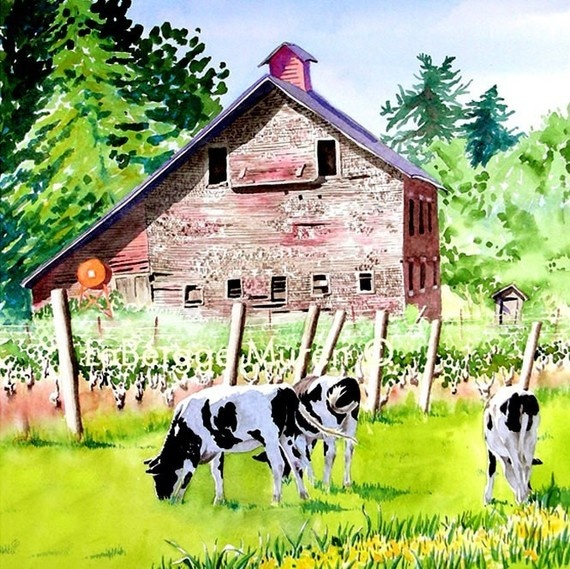 RED BARN~old barn & cows