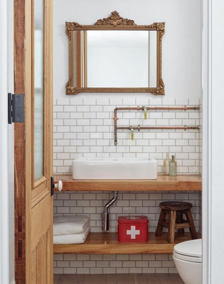 wood timber vanity design in half bath showing exposed