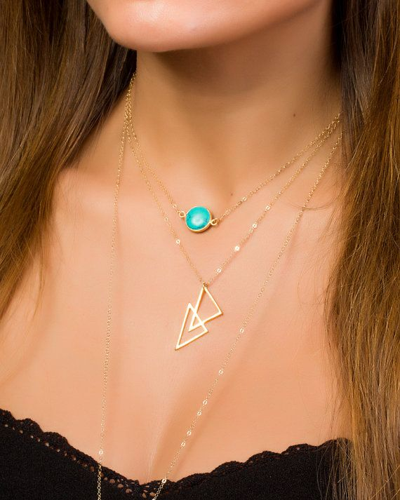 Gold Triangle Necklace Triangle Pendant Gold Layered