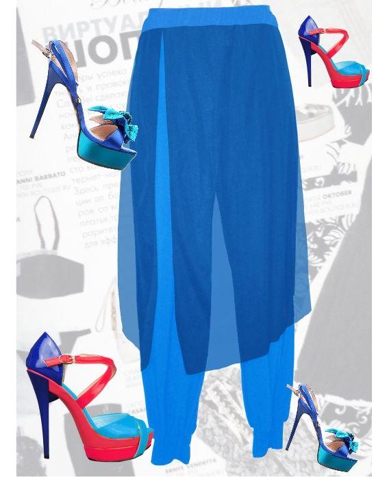 30$ Брюки-шаровары или алладинки с юбкой для полных девушек синий Артикул 494, р50-64 Брюки шаровары большие размеры  Брюки алладинки большие размеры