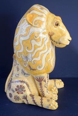 Ceramic Lion by G Warne side view