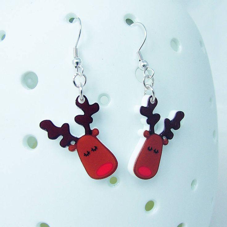 rudolph the reindeer christmas earrings by hoobynoo world | notonthehighstreet.com