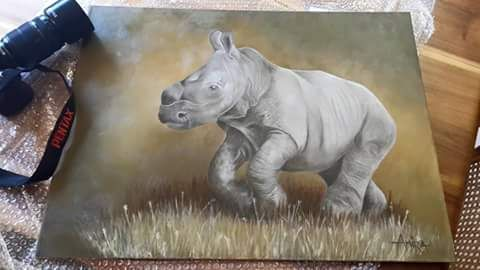 For a dear friend, one of her baby rhinos named Champ.  Painted in oil. Photo reference by Eugene Tulleken.