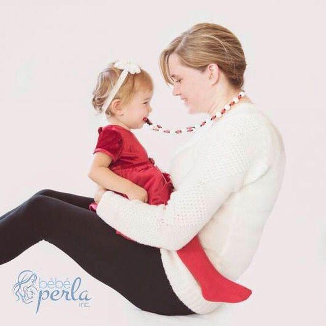 I just LOVE this photo! Check out our beautiful models showing off our Starlight Arielle Red mommy necklace! Only $22.99 CAD at www.bebeperla.com #christmasgift #newmom