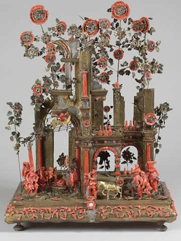 An antique nativity, made in italy 1650-1700 of coral, silver, enamel and gilt-copper