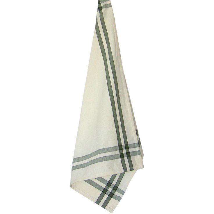 "Cream Tea Towel 20""X28""-Sage Stripe"