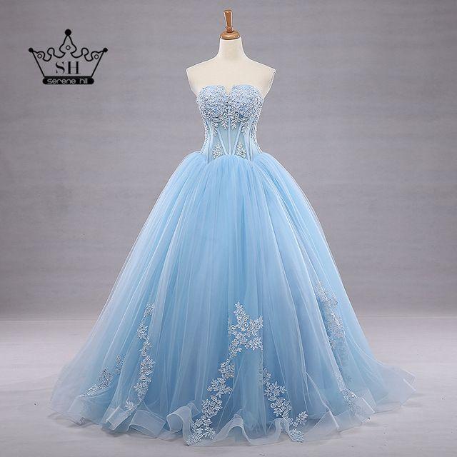 Robe De Mariage 2017 Azul Vestido De Baile Vestidos de Casamento Real Imagem do Querido Rendas Até O Chão vestido de Baile vestidos de Noiva Vestidos