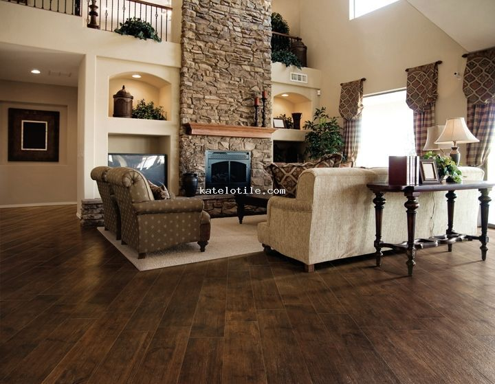 wood or ceramic tile in living rooms | love the FP, and wood-look porcelain tile! | Living Room/Fireplaces