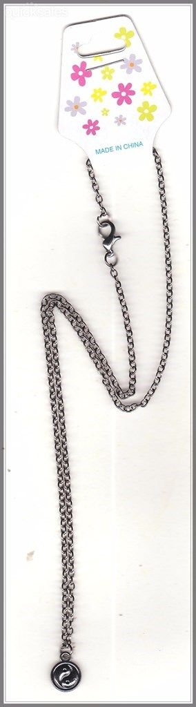 Ying/Yang Charm on Gunmetal Grey Chain Necklace by MadAboutIncense - $12.50