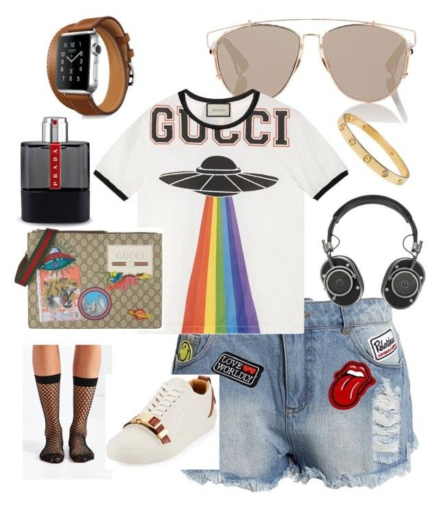"""""""EpiSEEN™"""" by theezracole ❤ liked on Polyvore featuring Sans Souci, Christian Dior, Gucci, Out From Under, BUSCEMI, Prada, Hermès and Master & Dynamic"""