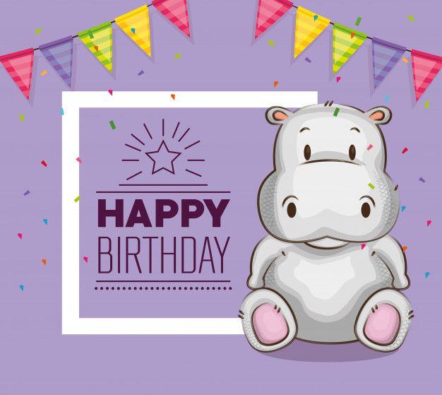 Cute Little Hippo Birthday Card Cartoon Expression Hippo Birthday Cards