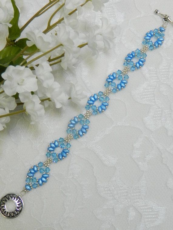 Beaded aquamarine swarovski bracelet | bead patterns | pinterest.