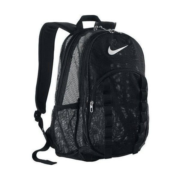 Nike Brasilia Mesh Backpack (49 AUD) ❤ liked on Polyvore featuring bags, backpacks, mesh bag, rucksack bag, knapsack bags, nike bag and nike backpack