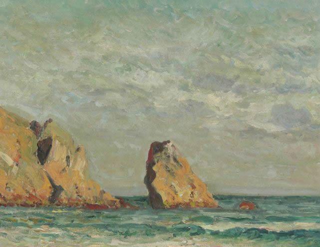 """Maxime Maufra (1861-1918) ~ """"Crozon, Plage du Portzic"""" ~ Huile sur Toile 38 x 46 cm"""