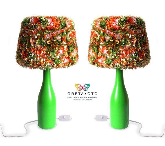 Coppia di lampade da tavolo Natura Colorwool di GretaOtoDesign