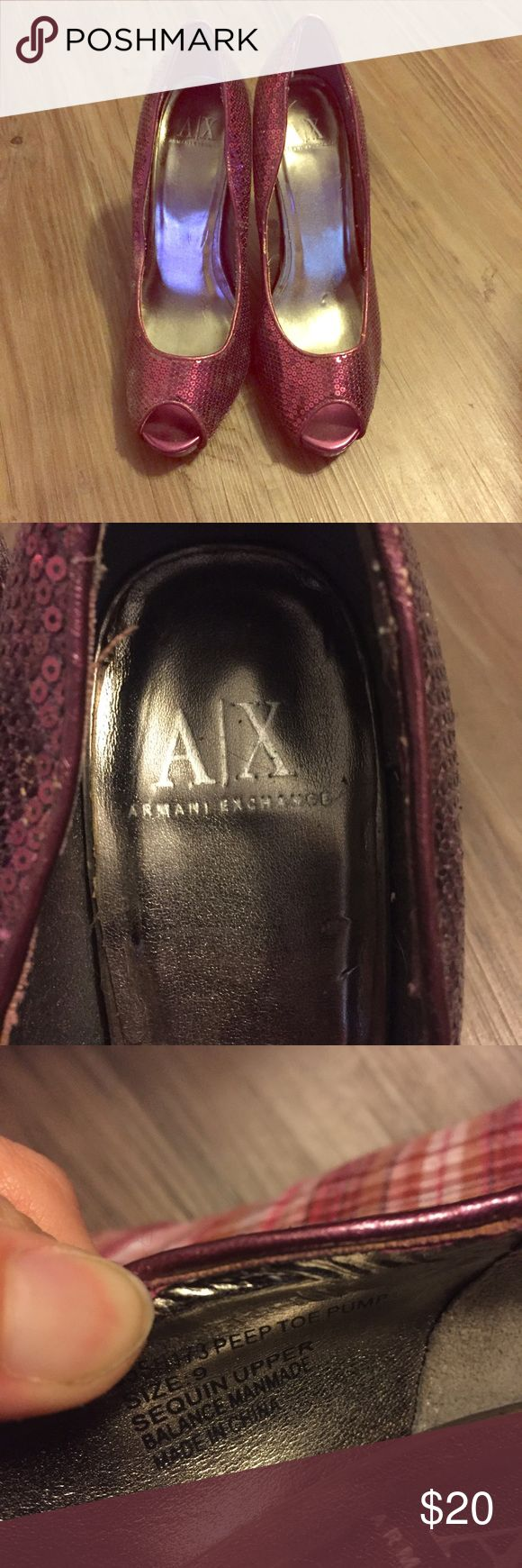 Purple sequined heels Great condition! A/X Armani Exchange Shoes Heels