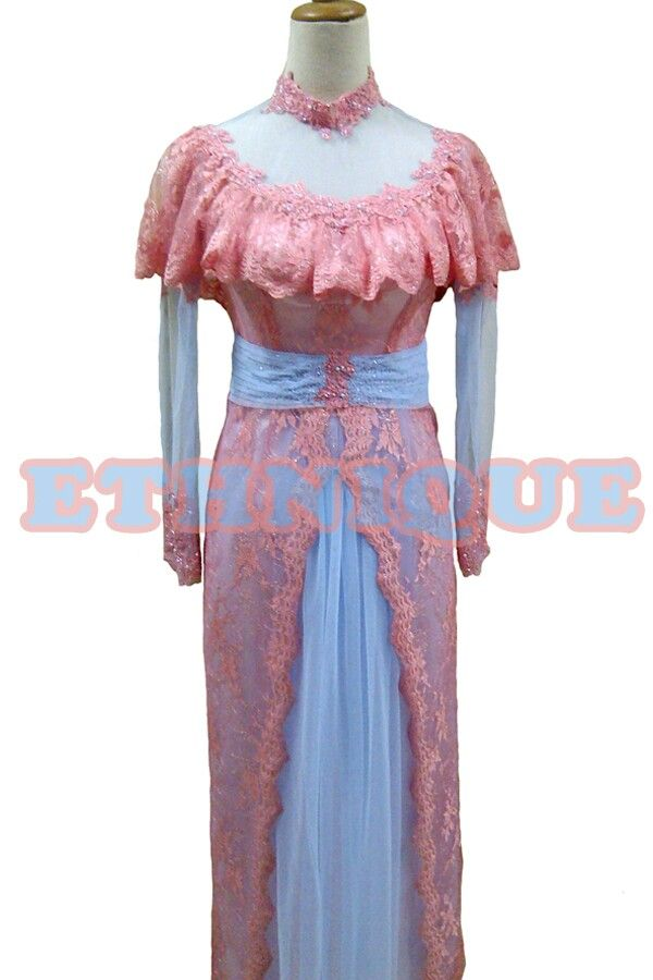 Salmon n baby blue tulle dress kebaya gamis