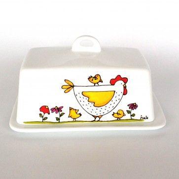 Beurrier • Mère poule. Peint à la main par l'artiste Isabelle Malo du Québec, Canada