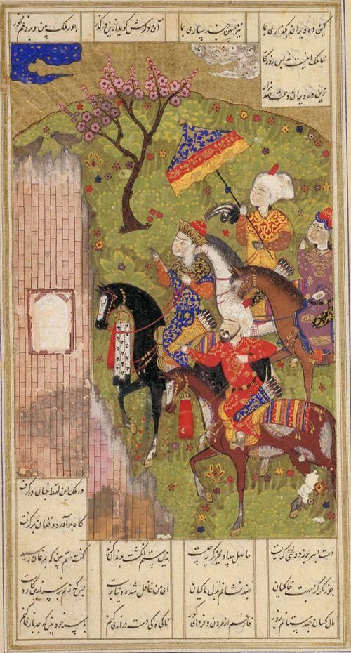 Nushirwan listens to the wisdom of the owls persia. #poetry by Nizami. #NationalPoetryDay   This #art is 510yrs old!