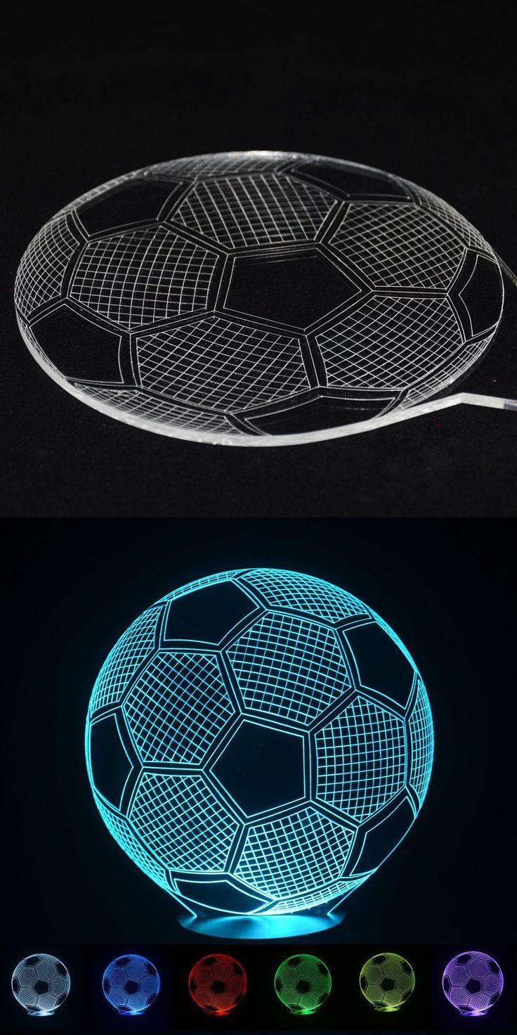 2016 3D Football Light Night Lampe Deco Led Lava Lamp Touch Switch Table Desk Lamp Led Light