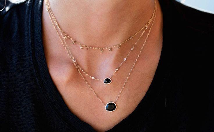 14kt rose gold and diamond mini onyx necklace – Luna Skye by Samantha Conn