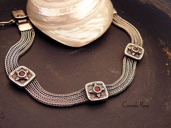 Greek bracelet Antique fine jewelry Silver mesh by CarmelaRosa