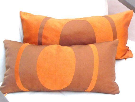 Geometric throw pillow set – 8x16 lumbar pillow covers – Bronze orange cushion cover – Silk taffeta sofa toss accent chair – Indoor bed sham