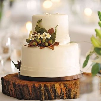 Wedding cake with wood block stand and acorn accents autumn-wedding-ideas