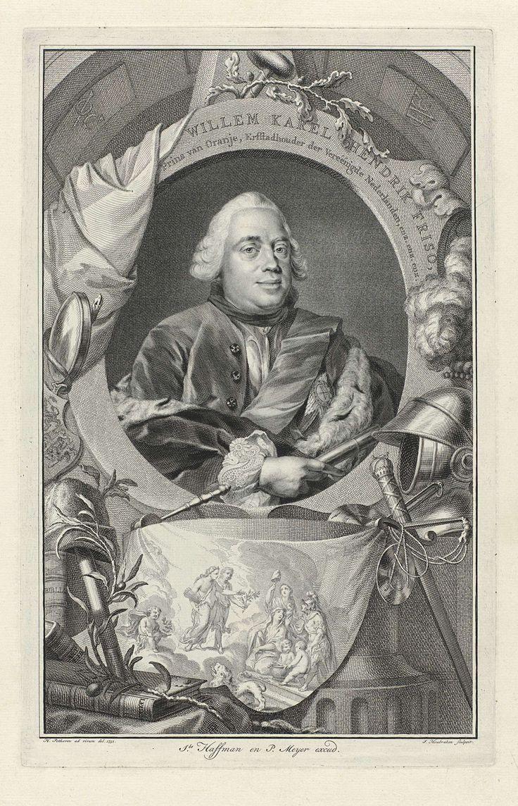 Jacob Houbraken | Portret van Willem IV, prins van Oranje-Nassau, Jacob Houbraken, Jacobus Haffman, Pieter Meyer, 1751 | Portret van Willem IV in een ovaal met randschrift. Rondom ligt een aantal allegorische objecten, waaronder een helm en een boek. Op een doek een voorstelling van de vrede.