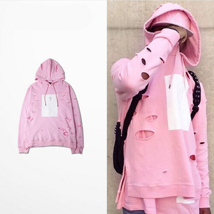 2016 hot mens hip hop pink hoodies sweat suit tracksuit men with the hole hoodies men set winter male streetwear #Affiliate