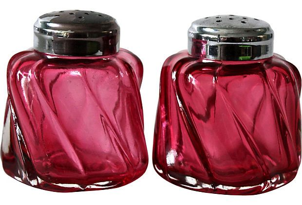 Fenton Cranberry Glass Salt & Pepper Shakers