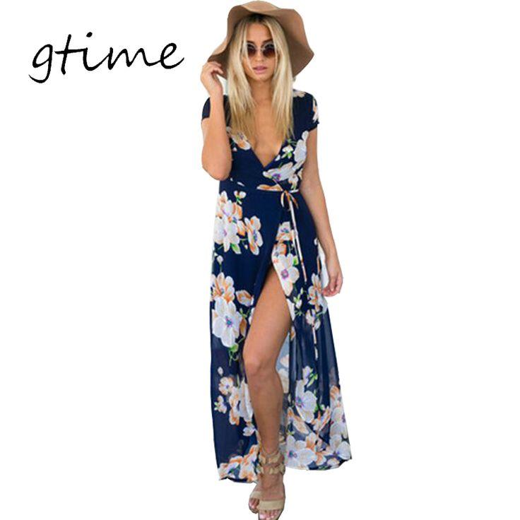 Gtime مثير الخامس الرقبة الأزهار الصيف اللباس مساء حفل زفاف اللباس boho النساء اللباس خمر فساتين ماكسي vestidos فتاة # WGT87