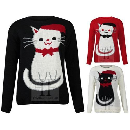 Womens Santa Hat Cat Knitted Ladies Novelty Christmas Xmas Jumper Sweater Top | eBay