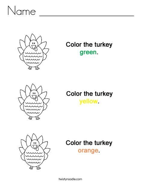 Color the Turkeys!  Coloring Page from TwistyNoodle.com