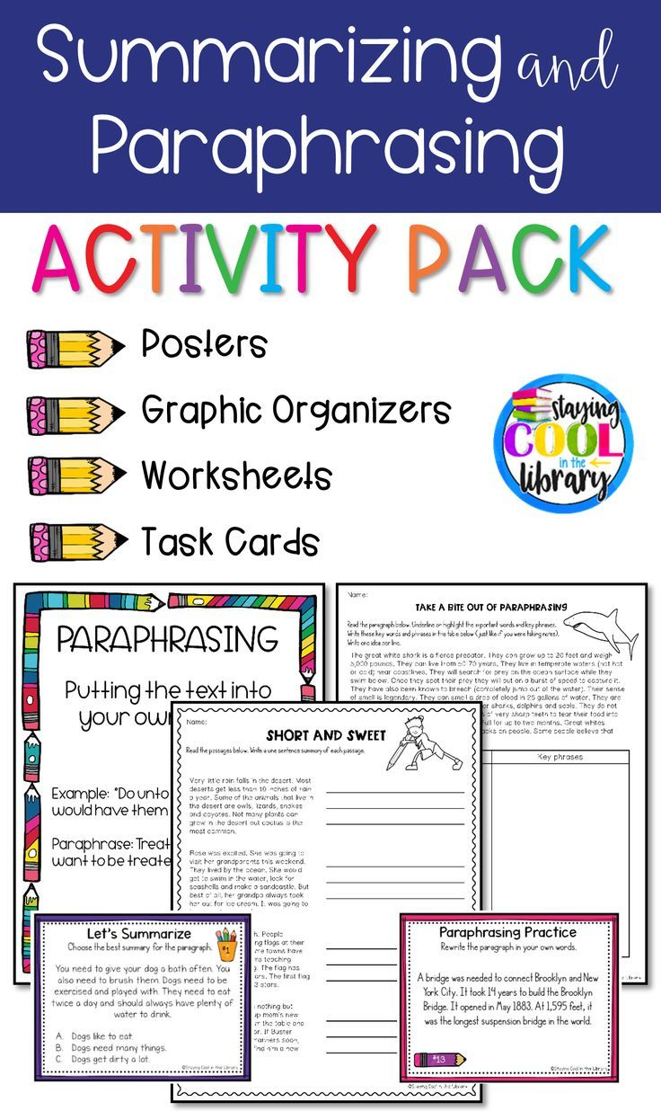 Paraphrasing And Summarizing Are Skill That Difficult For Many Student To Understand Thi Ac Activitie Reading Instruction Research Skills Practice Quoting Worksheet