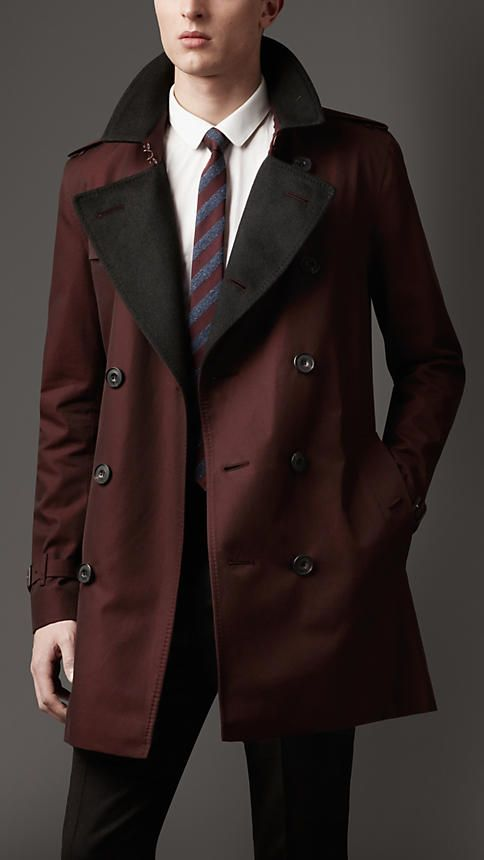 Burberry London Mid-Length Cashmere Detail Gabardine Trench Coat