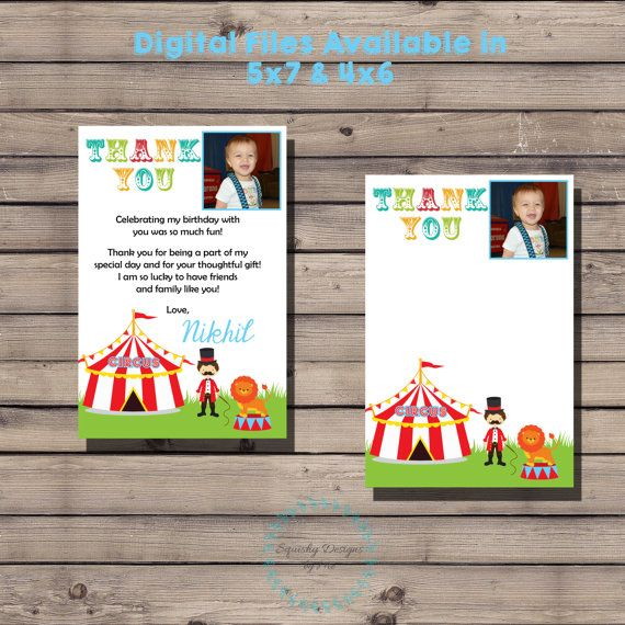 Circus Birthday Thank You Note Carnival by SquishyDesignsbyMe