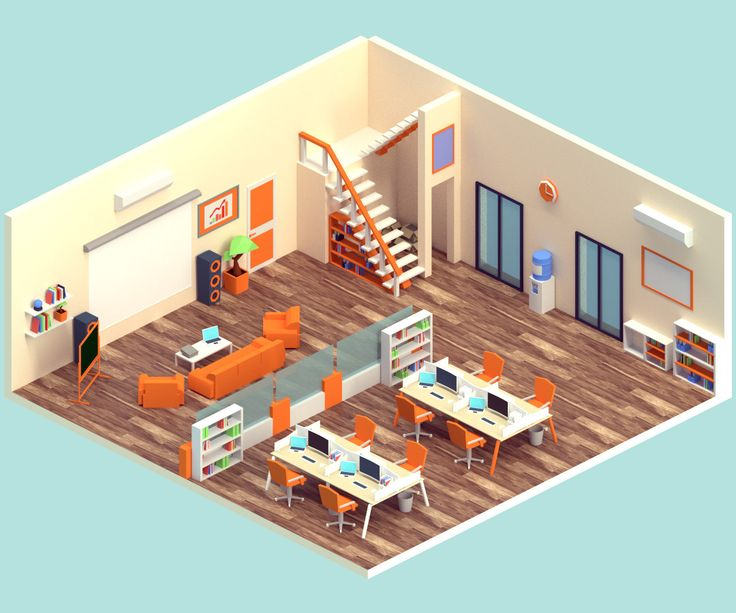 Isometric Office, Vyacheslav Ledenev on ArtStation at https://www.artstation.com/artwork/PqXGy