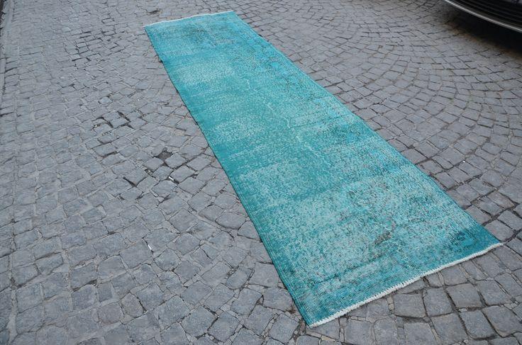 Overdyed Runner Rug, Oushak Rugs, Turkish Oushak Carpet, Handmade Blue Carpet, Runner Rug  (321 cm x 91 cm)  10,5 ft x 2,9 ft  model:759 by OushakRugs on Etsy