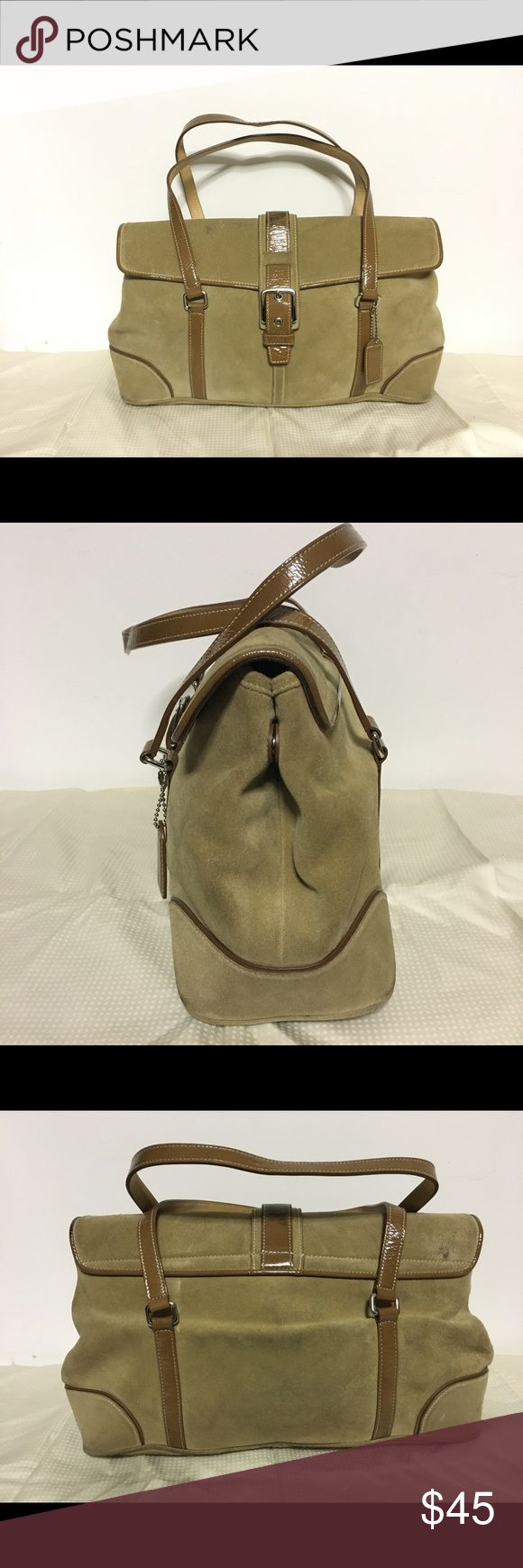 COACH Suede Leather HOBO Double Strap Handbag Coach suede/patent leather double strap hobo handbag in Olive green/tan color with some wear. Noticeable marks on the top patent leather, bottom and back of the bag. A wrinkle on the back of the back as well.  Silver toned hardware.  Protective metal feet. Magnetic snap closure.   Please let me know if you have any questions. Thanks! Coach Bags Hobos