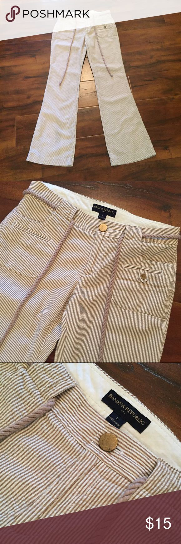 Banana Republic Seersucker Pant Size 2 💕 10% off two or more items. Unless otherwise noted, all items are in excellent condition. I am happy to negotiate, as well as create custom bundles to cut down shipping costs. Please feel free to ask any questions you may have about my items! I am here to help! Make me an offer I can't refuse! 😘 Banana Republic Pants Boot Cut & Flare