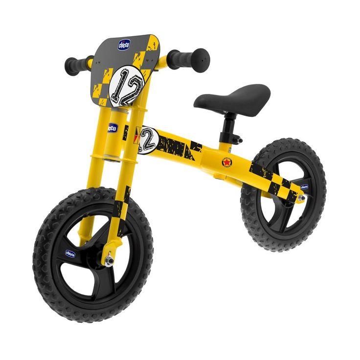 Rower biegowy Chicco stylizowany na motocykl motocross.