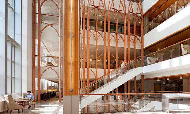 TK Architects - Duke Medicine; amazing detail here, could symbolize a forest or cathedral windows, both of which could have positive emotional responses for patients, family and staff.