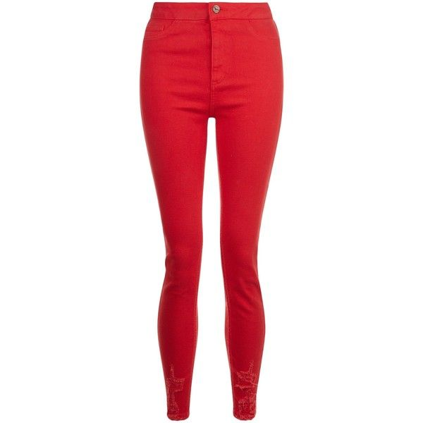 Red Ripped Hem Skinny Hallie Jeans ($34) ❤ liked on Polyvore featuring jeans, pants, distressed jeans, destructed jeans, torn jeans, red jeans and skinny fit jeans