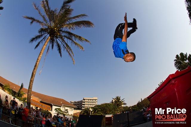 Mr Price Pro 2012 Beach Festival July 7.  Mark Modimola(Pretoria) with a Huge flip in his Parkour Style Run