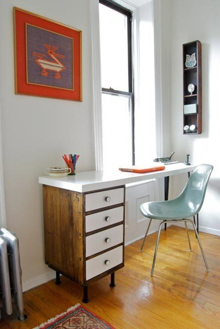 Could do something like this and turn into L-desk with similar drawers base and a Filing cabinet like my current ugly L-desk has but the filing cabinet would serve as a base instead of being attached. Just don't know how would anchor it to wall or add legs for the middle of the L-part in corner...