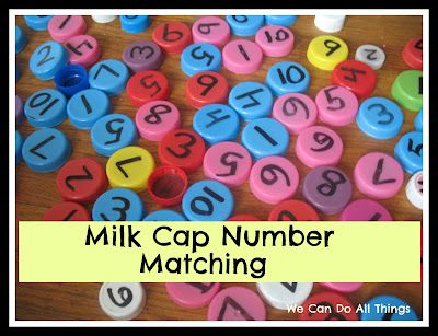 Milk Cap Number Matching; several activities shown, could also put in the sand table and match to numbers on a tray.